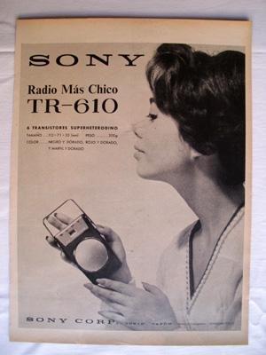 Antigua Hoja Publicidad Revista - Advertising Magazine Old Sheet : SONY, Radio...
