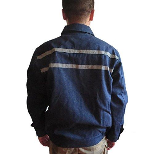 Sicherheitskleidung Baumwolle Verbrühschutz Anti-Feuer Isolierung Schweißerkleidung Arbeitsbekleidung (185cm XXL, Dunkelblau)