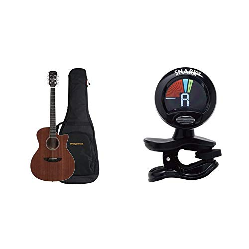 Orangewood 6 String Acoustic Guitar, Right, Mahogany, Cutaway (OW-REY-M) & Snark SN5X Clip-On Tuner for Guitar, Bass & Violin (Current Model)