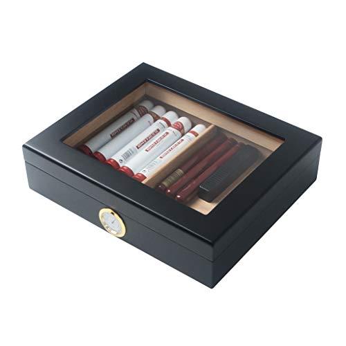 Zigarren Humidor Zigarrenluftbefeuchter Zigarrenschachtel Zigarettenetui, Zedernholz Glas Oberlichter große Kapazität mit Luftbefeuchter und Hygrometer konstante Temperatur und Luftfeuchtigkeit Klavie
