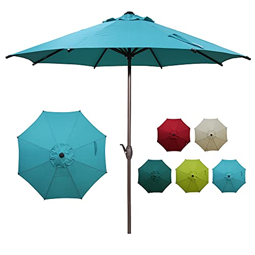 Abba Patio 9ft Patio Umbrella Outdoor Market Table Umbrella with Push Button Tilt and Crank for Garden, Lawn, Deck, Backyard & Pool, 8 Sturdy Steel Ribs, Turquoise