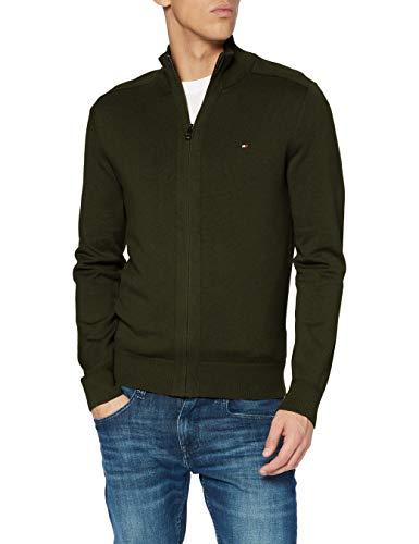 Tommy Hilfiger Pima Cotton Cashmere Zip Through Suéter, Camo Green Heather, S para Hombre