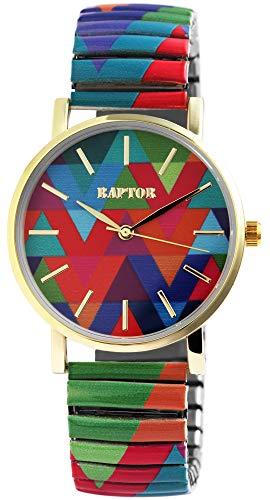 Raptor Colorful Edition Ø36mm Damen-Uhr Zugband Edelstahl Motiv Bunt Print Analog Quarz
