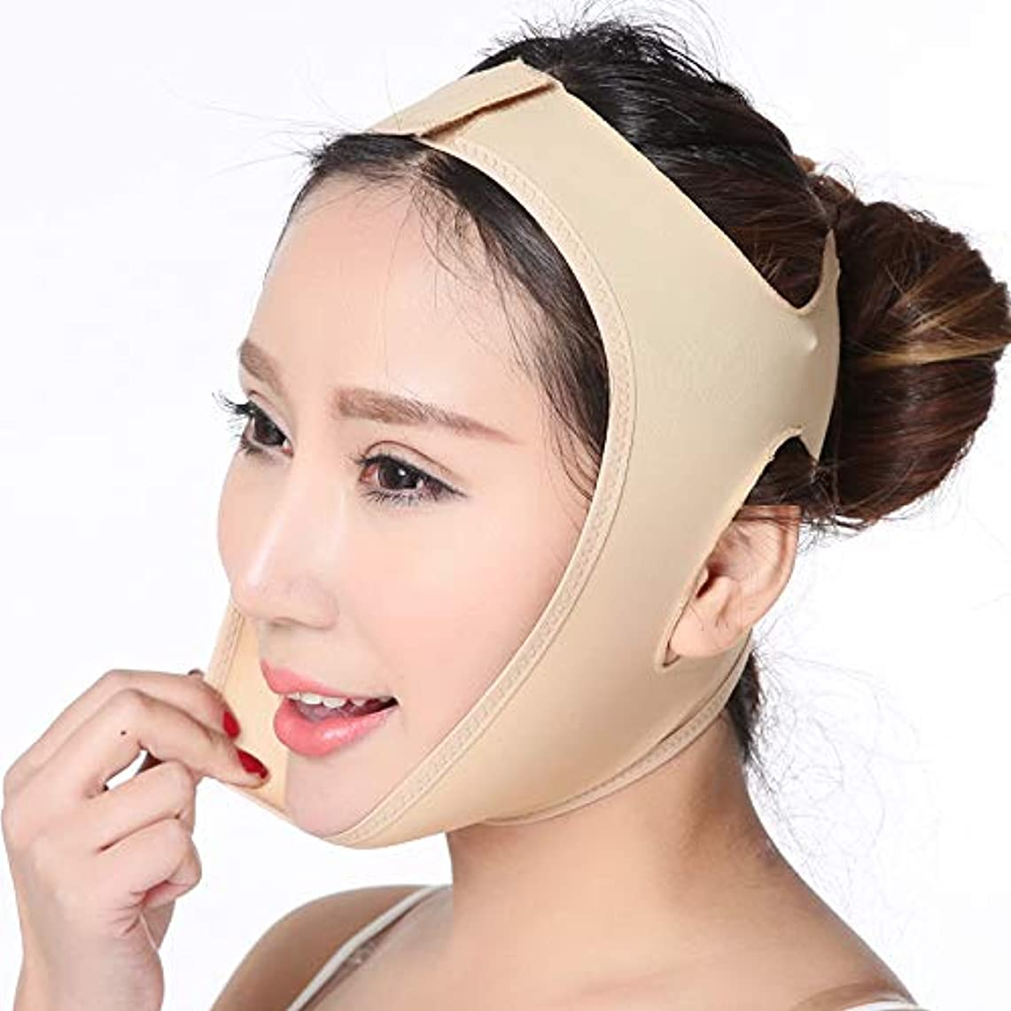 確認してください型シンカン顔の持ち上がる痩身ベルト、顔の頬のV字型リフトアップ薄いマスクストラップフェイスライン滑らかな通気性の圧縮二重あご包帯を減らす (S)