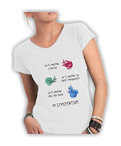 Social Crazy T-Shirt Donna Cotone Fiammato Scollo Ampio a Taglio Vivo - #Le Mie Fatine Divertenti Scritte Frasi Humor VIP Cool Made in Italy … (XL, Bianco)