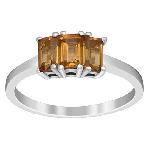 1,20 Ctw Madeira Citrin Edelstein 925 Sterling Silber Drei Stein Cluster Ring (60 (19.1))