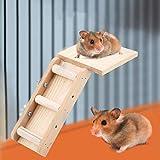 Duokon Loro de Madera Hamster Toys Juego de Plataforma de Escalera Pequeños Juguetes para Animales Kits de Escalada para pájaros Hamster Jugando Resto