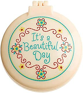 """IT'S A BEAUTIFUL DAY 2.5"""" Diameter Folding Hair Brush With Compact Mirror Pocket Size Gift Positive Vibe Message Travel Ca..."""