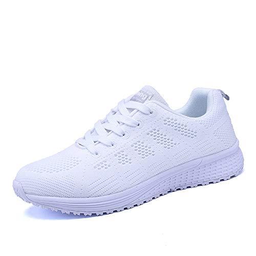 PAMRAY Damen Fitness Laufschuhe Sportschuhe Schnüren Running Sneaker Netz Gym Schuhe Weiss 38 EU