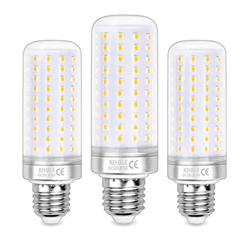 Hzsanue Lampadine LED 26W, 200W Lampadine a Incandescenza Equivalenti, 2600Lm, 3000K Luce Bianca Calda, E27 Vite Edison, Confezione da 3