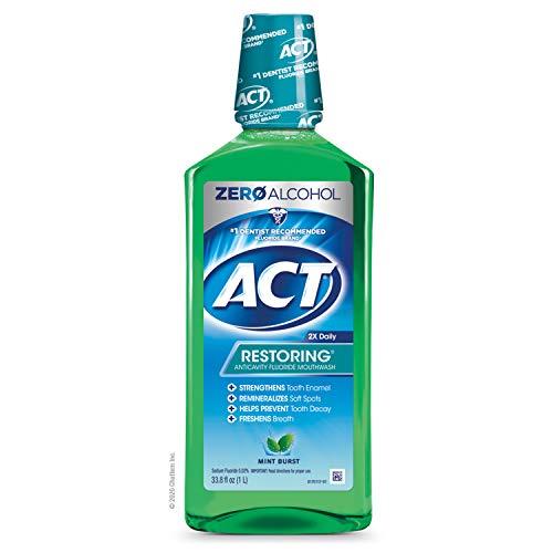 ACT Restoring Zero Alcohol Fluoride Mouthwash, Strengthens Tooth Enamel, Mint Burst, Green, 33.8 Fl Oz