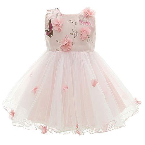 Monimo Baby Mädchen Prinzessin Kleid Taufkleid Festlich Kleid Hochzeit Partykleid Festzug Babybekleidung,Rosa2,12-16 Monate