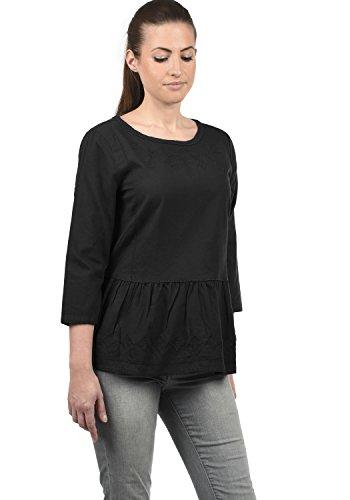 DESIRES Evita Damen 3/4-Arm Bluse Aus 100% Baumwolle Loose Fit, Größe:S, Farbe:Black (9000)