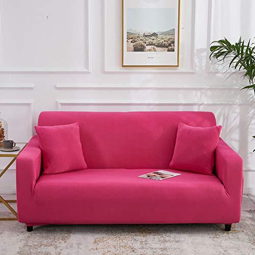 Cojín Universal para sofá Perezoso de Cuatro Estaciones, Funda de sofá de Color sólido de Seda de Leche elástica, sofá de Cubierta Completa Rosa roja para Tres Personas 190-230cm