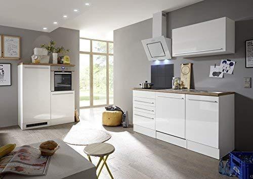 Respekta Premium kitchenette keukenblok inbouwkeuken wit hoogglans 290 cm