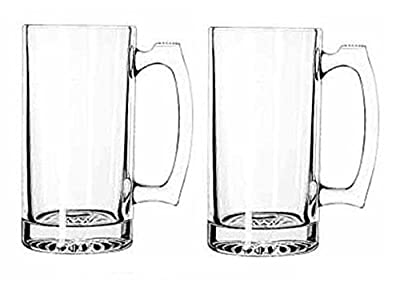Giant Beer Mug Super Mug Stein Thick Glass 26 Ounces Pack Of 2
