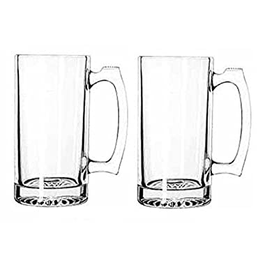 GIANT BEER MUG SUPER MUG STIEN THICK GLASS 26OZ PACK OF 2