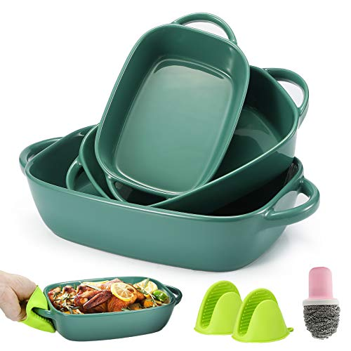 Bakeware Set,Casserole Dish,Ceramic Bakeware Set 3 PCS,Lasagna Pans,Baking Dishes,Baking Pans with 1 Cleaning Brush and 2 Silicone Anti-Hot Clips,11 x 7 x 2.7 Inches (Green)