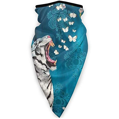 Emonye Face Headband,White Tiger Flowers Blue Night Breezes Seem to Whisper Neck Gaiter,Unique Facial Decoration for Skiing Unisex,24x52cm