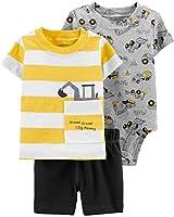 Carter's Baby Boys' 3-Piece Little Short Sets (18 Months, Construction/Heather/Yellow)
