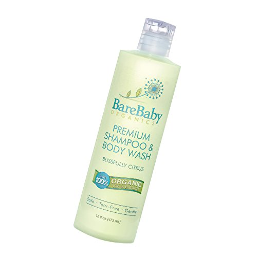 Organic Baby Shampoo & Body Wash with Aloe, Cucumber, Citrus Essential Oils - Safe, Gentle, Tear Free - Eczema Friendly - Paraben, Dye, Gluten, and Sulfate Free - 16 oz