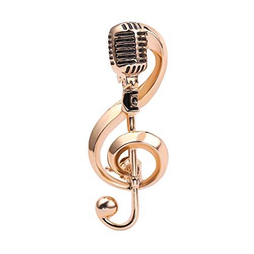 DYXYH Micrófono de Color Dorado Micrófono Nota Brooches Pin para Mujeres Men Singer Party Concierto Accesorios Regalo Joyería