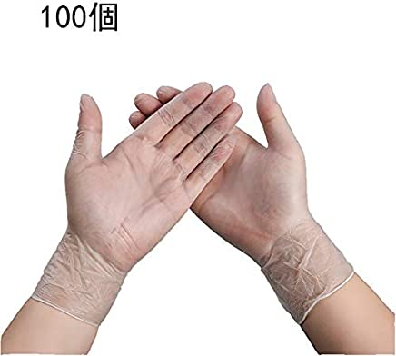 GlovesDisposable Gloves Transparent PVC Food Catering Kitchen Baking Powder Free Oilproof Dustproof Hand Protective Gloves, Cross Infection Medical Gloves (100 Pieces)