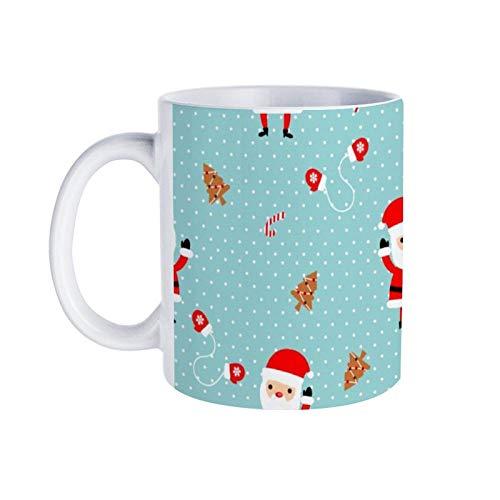 11 Oz Christmas Mugs Cute Santa Claus on White Dot Background Coffee Mug Tea Cup for Friends Girls Boys Xmas Home Decor