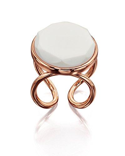 Fiorelli: anillo de diseño extravagante chapado en oro rosa con placa acrílica, tamaño: 19