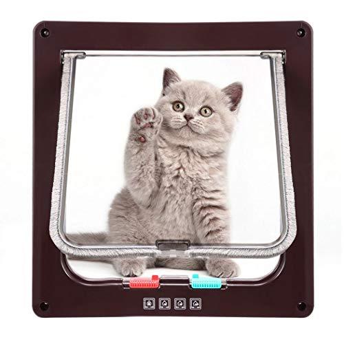 Pujuas - Puerta para Gato con Cierre magnético de 4 vías, Puerta para Mascotas para Gatos y Perros pequeños, Puerta para Gatos con túnel (M, Marrón)