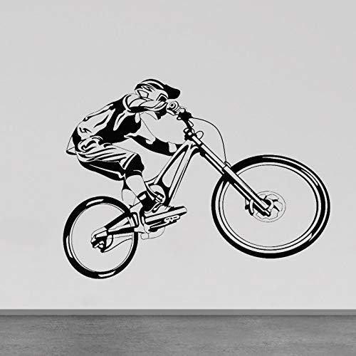SUPWALS Pegatinas de Pared de Bicicleta para habitación de Adolescentes decoración del hogar Vinilo calcomanías de Pared para Dormitorio Moderno Pegatina extraíble para Ventana de Deportes Extremos