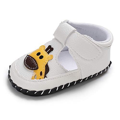Geagodelia Baby Sandalen Weicher Lauflernschuhe Hausschuhe für Kleinkind Mädchen Junge mit Süß Cartoon Tiere Muster (12-18 Monate, Giraffe-Weiß)
