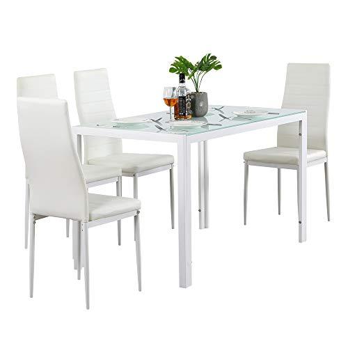 TETHYSUN Juego de mesa de comedor, 5 piezas, mesa de comedor de cristal con sillas de comedor tapizadas para el hogar, la cocina, el comedor
