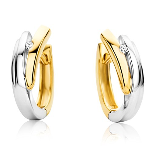Miore Ohrringe Damen Creolen  Bicolor Gelbgold / Weißgold 9 Karat / 375 Gold  Diamant Brillianten 0.04 ct
