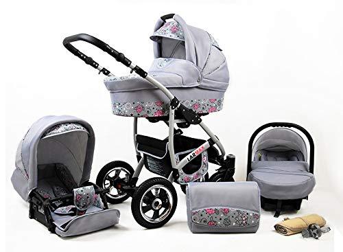 Lux4Kids Kinderwagen 3 in 1 Kombi Komplettset mit Autositz Isofix 2in1 Babywanne Babyschale Buggy Buggy Baby Larmax Pink Owl 3in1 mit Babyschale