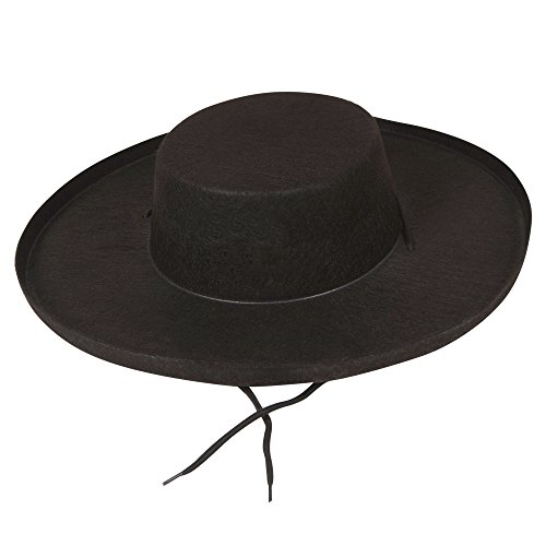 Felt Black Bandit Hat - Adult Fancy Dress Accessory