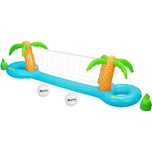 """iBaseToy Aufblasbare Pool Volleyball Spieleset mit verstellbarem Netz und 2 Bällen - Schwimmendes Wasser Volleyball Spiel Pool Spielzeug für Erwachsene und Kinder (118""""x25.59""""x33.46"""")"""