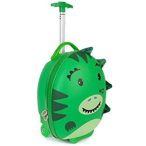 Boppi Tiny Trekker Kids Luggage Travel Suitcase Carry On Cabin Bag Holiday Pull Along Trolley Lighweight Wheeled Holdall 17 Litre Hand Case - Dinosaur