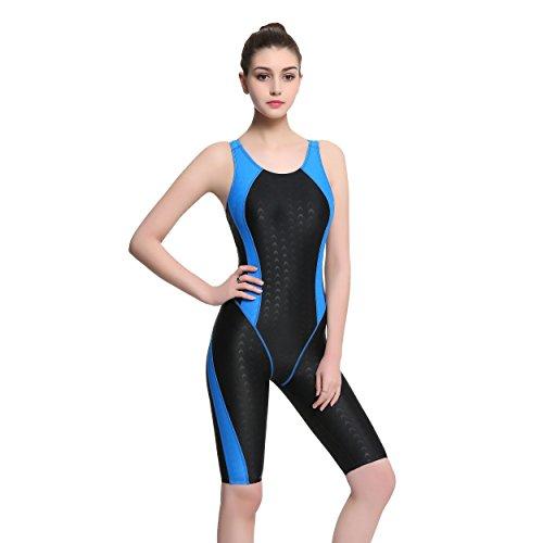 Modeokker Fashion Damen Einteiler Racer Legsuit Muscleback Sport Badeanzug Gr. Etikett XXX-Large =44, blau / schwarz