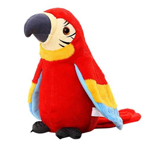 Kylewo Plüsch Papagei Spielzeug Plüschvogel Papagei Vogel Plüschtiere Kuscheltiere Spielze,Talking Parrot Plüsch Spielzeug für Kinder