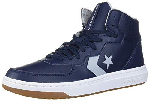 Converse Rival Leather Mid Top Sneaker, Obsidian/Wolf Grey/White, 10 M US