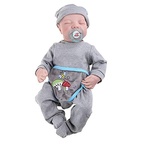YOURPAI Muñeca de 19 pulgadas realista ojos cerrados sueño niño suave vinilo silicona bebé recién nacido