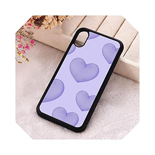 5 5S SE 2020 Funda de teléfono para iPhone 6 6S 7 8 Plus X Xs XR 11 12 Mini Pro Max Silicona holográfica púrpura corazón para iPhone SE 2016