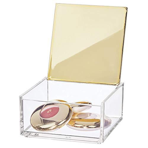 mDesign - Make-up organizer - opbergbox - voor badmeubel, wastafel, badkamerkastjes - voor oogschaduwpaletten, lippenstift, lipgloss, rouge, sieraden - met spiegeldeksel/klein/plastic - doorzichtig/zacht messing