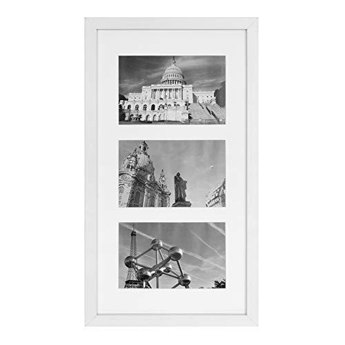 SONGMICS Bilderrahmen für 3 Fotos, Fotorahmen, Fotocollage, Wanddeko, hängend oder stehend, passend für 10 x 15 cm (4 x 6 Zoll) große Bilder, für Familienfotos, Selfies, MDF, Glas, weiß RPF006W01