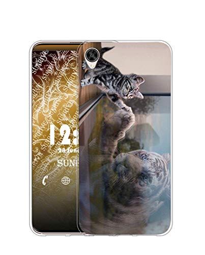 Sunrive Kompatibel mit Oppo R7s Hülle Silikon, Transparent Handyhülle Schutzhülle Etui Hülle (TPU Katze & Tiger)+Gratis Universal Eingabestift MEHRWEG