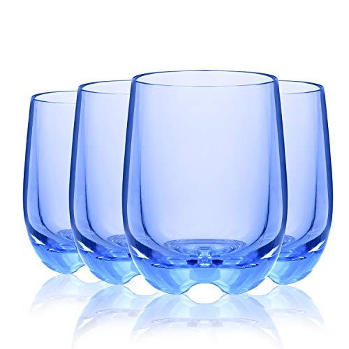 CYKK - Juego de 4 vasos de vino aptos para lavavajillas, sin BPA, color azul
