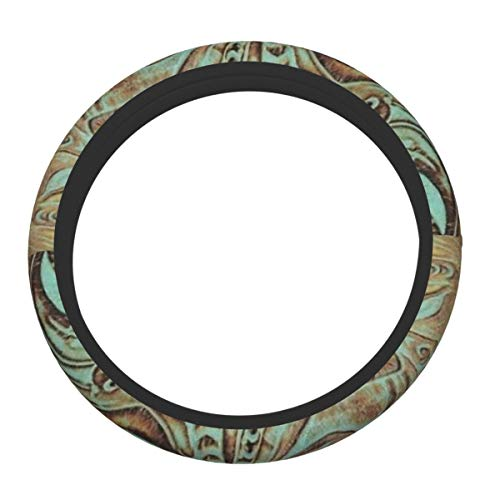 XTing Rustic Brown Teal Western Country Tooled Steering Wheel Cover, Auto Steering Wheel Cover Protector Anti-Slip Durable Universal 15 Inch Fit Most of Car