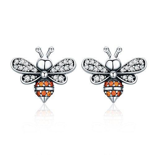 Qings Bee Earring Sterling Silver Stud Earrings with Cubic Zirconia for Women and Girl Christmas Gifts