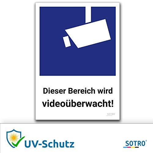 Videoüberwachung Aufkleber und Symbol, DIN 33450, 10x14cm, Schild Videoüberwacht Warnhinweis Kameraüberwachung Wetterfest, Selbstklebend für Innen und Außen, Dieser Bereich Wird videoüberwacht